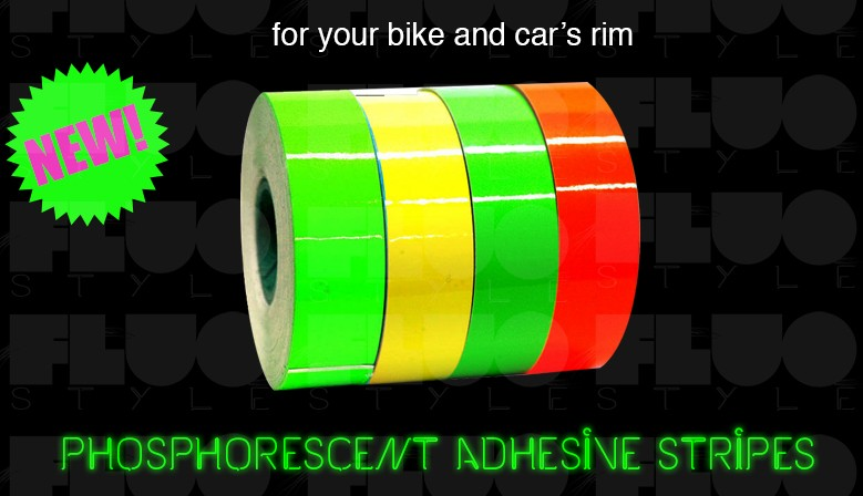 Fluorescent adhesive stripes in 3 colors, length 5 meters x width 25/50mm