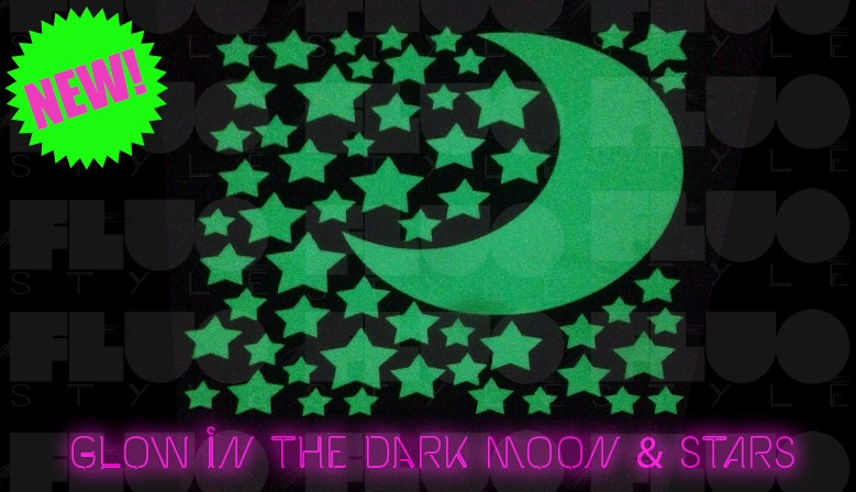 Fluorescent phosphorescent glow in the dark stars and moon stickers