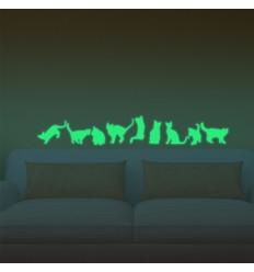 Adesivi Murali Fosforescenti.9 Adesivi Decorazione Murali Gatto Fosforescenti Che Si Illuminano Al Buio