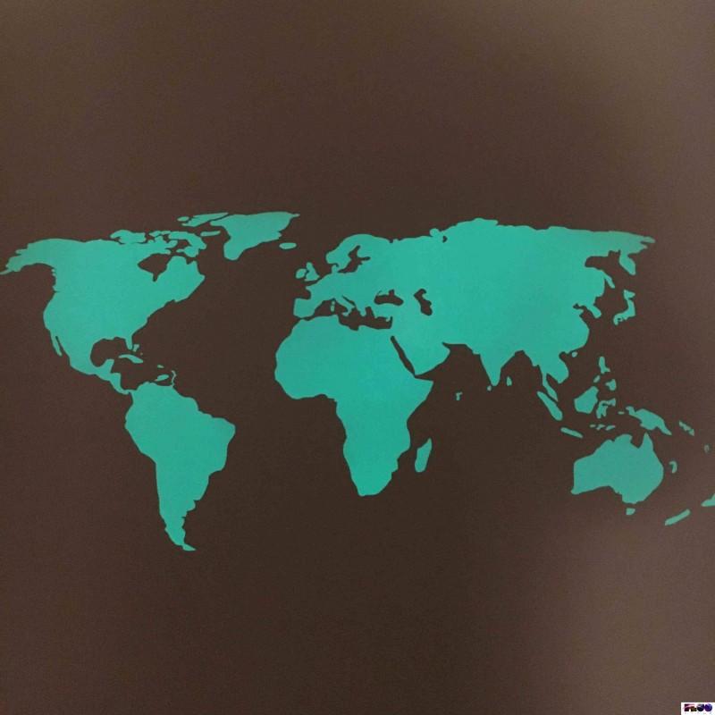 Mappa mondo adesiva che si illumina al buio da attaccare for Adesivi da attaccare al muro