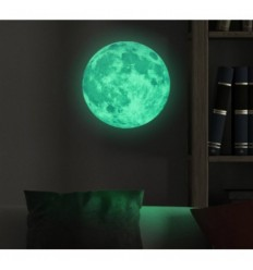 Phosphorescent fluorescent glow in the dark full moon sticker in 3 sizes