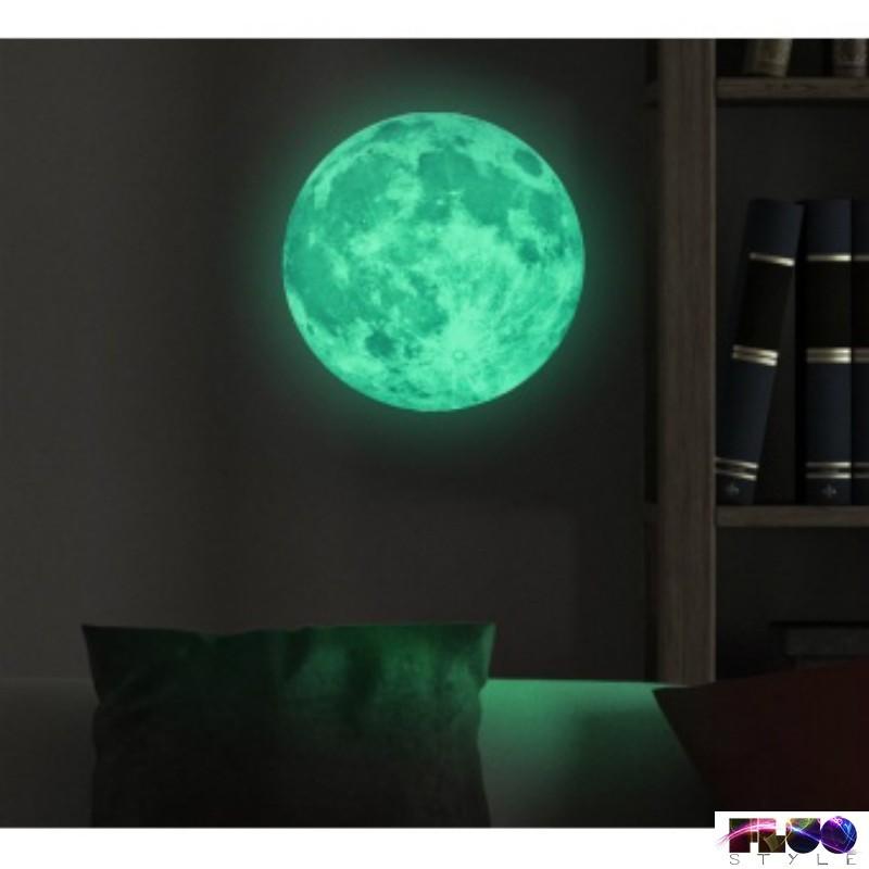 Phosphorescent Fluorescent Glow In The Dark Full Moon Sticker