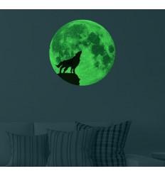 Adesivo lupo e luna piena luminescente fosforescente che si illumina al buio