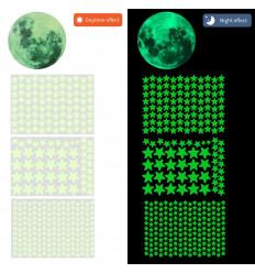 Stelle e luna fluorescenti fosforescenti adesive che si illuminano al buio
